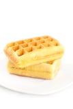 Waffles на плите изолированной на белизне Стоковое Фото