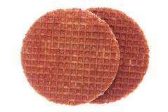 Waffles при мед изолированный на белизне Стоковое фото RF