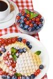 Waffles при свежие ягоды изолированные на белизне Стоковое Изображение