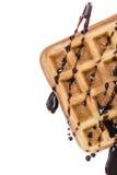 Waffles при соус шоколада (изолированный на белизне) Стоковое Фото