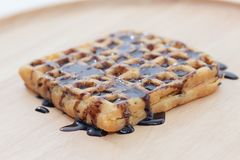 waffles расплавленные шоколадом Стоковые Фото
