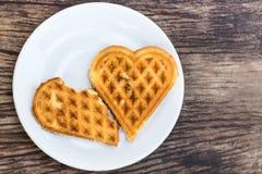 Waffles сформированное сердце Стоковое Фото