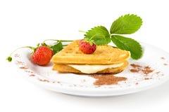 Waffles с клубникой Стоковая Фотография RF