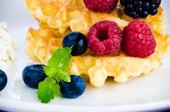 Waffles с свежими ягодами Стоковое Изображение RF