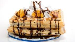 Waffles с сливк Стоковое фото RF