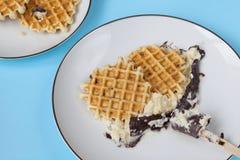 Waffles с туз-сливк Стоковые Изображения RF