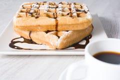 Waffles с шоколадом и кофе Стоковые Изображения RF