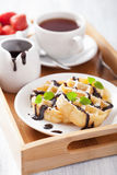 Waffles с шоколадом, сахаром порошка для завтрака Стоковая Фотография RF