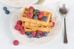 Waffles с ягодами Стоковые Изображения