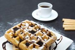 Waffles шоколада с кофе Стоковые Фотографии RF