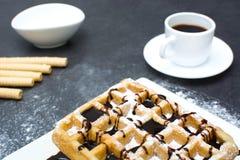 Waffles шоколада с кофе Стоковые Изображения