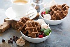 Waffles шоколада с меренгами и кофе Стоковые Фотографии RF