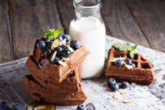 Waffles шоколада с молоком Стоковая Фотография RF