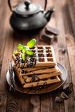 Waffles шоколада Стоковое Изображение