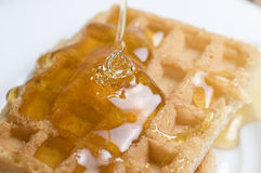 Waffles. A breakfast of Waffles dripping with honey Royalty Free Stock Images