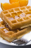 Waffles. And honey for breakfast Royalty Free Stock Images