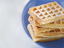 Waffles. With powder sugar sprinkled on top Stock Images