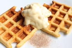 Waffles. With vanilla ice-cream Stock Photos