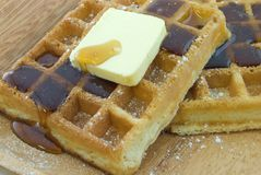 Waffles. With butter and syrup Stock Image