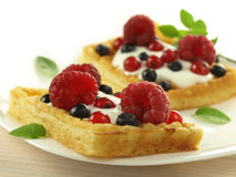 Waffles with additions Royalty Free Stock Photography