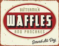 Waffles Antique Vintage Tin Sign Pancakes. Waffles and Pancakes Breakfast Restaurant vintage tin sign metal old antique rusted diner royalty free illustration