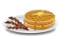 Waffles and bacon breakfast Stock Photo