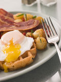 Waffles with Bacon Fried Potatoes Stock Image