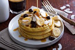 Waffles with banana slices and chocolate Stock Photo