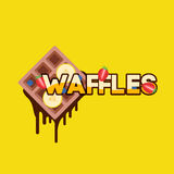 Waffles with banana Royalty Free Stock Photos