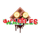 Waffles with banana Stock Image