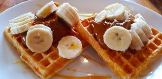 Waffles with bananas and dulce de leche, El Chalten, Argentina stock photos