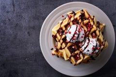 Waffles belgas fotografia de stock royalty free