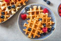 Waffles belgas caseiros tradicionais com bagas e o syru frescos Fotos de Stock Royalty Free