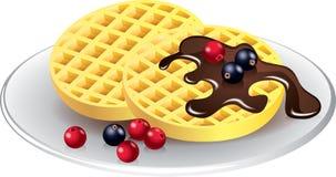 Waffles belgas com chocolate e bagas Imagens de Stock Royalty Free