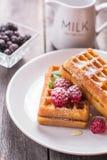 Waffles belgas com framboesa, mel e polvilhado com o powdere Fotos de Stock