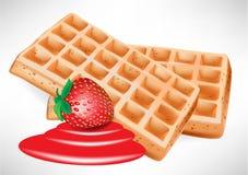 Waffles belgas com morango Fotos de Stock