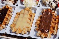 Waffles belgas deleitáveis Imagem de Stock