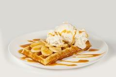 Waffles belgas em um fundo branco Fotografia de Stock Royalty Free