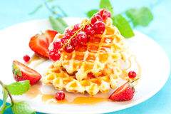 Waffles with berries Royalty Free Stock Photography