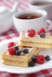 Waffles with berries Stock Images