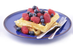 Waffles with berries Royalty Free Stock Photo