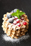 Waffles with berries Royalty Free Stock Images
