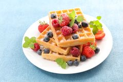 Waffles with berries fruits. Studio shot Royalty Free Stock Photography