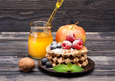 Waffles with berries and honey. Stock Photography