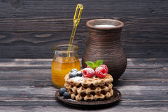 Waffles with berries, honey and milk. Stock Photography