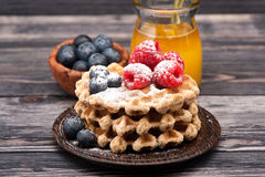 Waffles with berries and honey Stock Images
