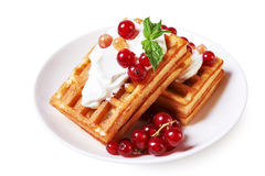 Waffles with berries stock image