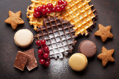 Waffles and berries Royalty Free Stock Photos