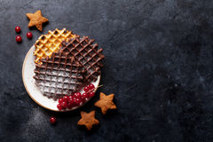 Waffles and berries Stock Photos
