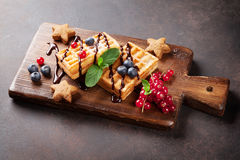 Waffles and berries Royalty Free Stock Image